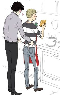 (sherlocks thinkin about how the apron matches johns underwear) lolgirl607: could you draw a really domestic scene b/t sherlock and john where sherlock is tying an apron on john so he could cook their dinner?