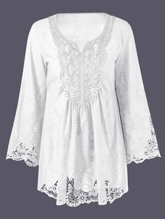 Oversized Bell Sleeve Lace Patchwork Peasant Blouse
