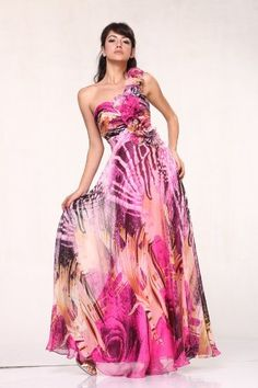 937812192a  09721 Print Chiffon Rosettes One Shoulder Pageant « Dress Adds Everyday  Beautiful Evening Gowns