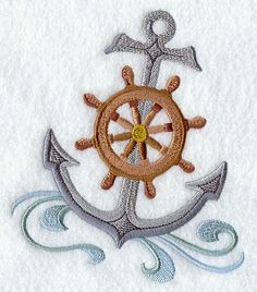 anchor nautical embroidery. would remove the wheel, change the colors and make the swirls look more like waves