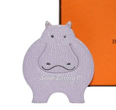 HERMES LEATHER LAVENDER HIPPO PIKABOOK BOOKMARK PAGE MARKER CHARM GOOD COND #Hermes