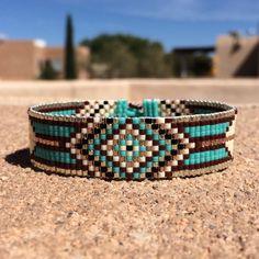 Ruidoso Turquoise Bead Loom Bracelet Bohemian Boho by PuebloAndCo