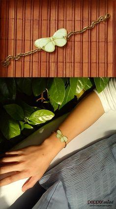 Light Green Butterfly Bracelet  https://www.facebook.com/peppermint.jewels