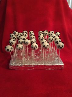 These are my panda cake pops . Idea came from Bakerella . Thank you so much. Made these for my granddaughters panda-mustache birthday party .