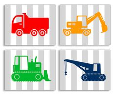 The Kids Room Construction Vehicles on Stripes 4 Piece Wall Plaque Set