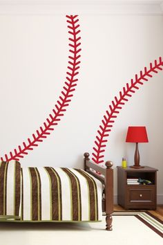 Baseball Stitches Wall Decals, sports, diamond, athlete, jeter, homerun, ballpark, stadium -WALLTAT.com Art Without Boundaries