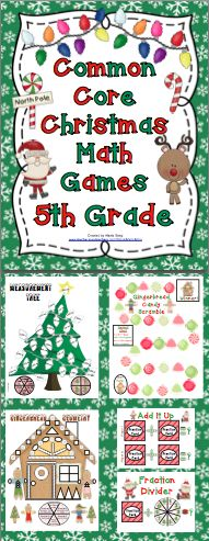 Christmas Math Games - 5th Grade (Common Core) Your students will have a blast while practicing important Common Core math skills! These super fun games are great for centers, small groups, or whole class fun! Also available for 3rd grade and 4th grade. $