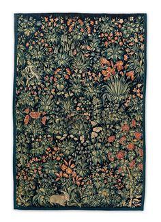 Atelier itinérant, vers 1530-1540. Tapisserie mille-fleurs, travail de basse lice, laine, 225 x 168 cm.