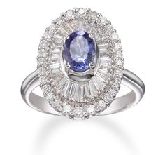 18k White Gold Tanzanite Ring with Diamond Baguettes