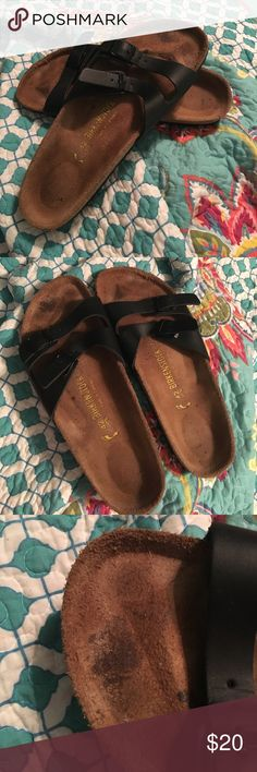 Birkenstocks Got these off of here and they don't fit my feet right. They look a little scuffed up on the top near the toes from the previous owner but you can't see it whenever you have them on. I was told they are a size 12 in women's. Price is always negotiable. :) Birkenstock Shoes Flats & Loafers