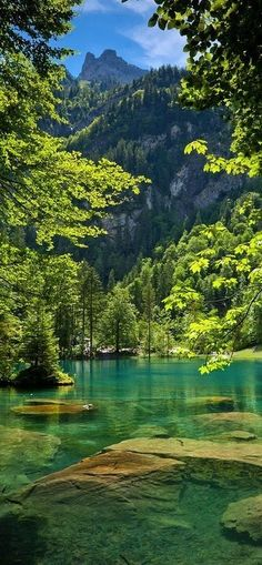 The blue lake in Kandersteg Switzerland