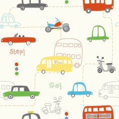 Fine Decor Rush Hour Hoopla Wallpaper Red / Green / Yellow - Childrens Wallpaper from I love wallpaper UK