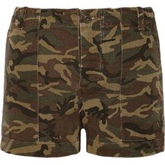 NLST Camouflage-print stretch denim shorts ($90) ❤ liked on Polyvore featuring shorts, bottoms, army green, high-waisted shorts, high waisted zipper shorts, camouflage high waisted shorts, loose short shorts and short shorts