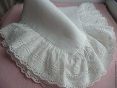 """Купить Наволочки льняные """"Кружевные""""-комплект - белый, наволочка, наволочка на подушку, льняная подушка"""