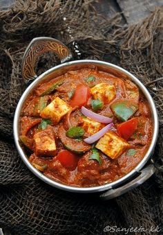 Kadai Paneer or Quick Indian Cottage Cheese recipe. Replicate with tofu instead to make it vegan.