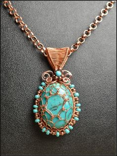 Genuine Turquoise and Copper Wire Wrapped and Woven Pendant With Copper Rolo Chain