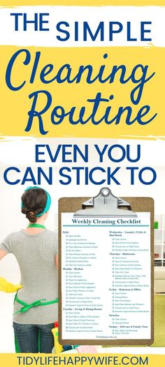 Don't have an extra day every week to clean the house? Check out these daily habits and weekly cleaning routine checklist for busy women. Household Cleaning Schedule, Weekly Cleaning Checklist, Cleaning Schedule Printable, Speed Cleaning, Diy Cleaning Products, Cleaning Hacks, Cleaning Schedules, Cleaning Lists, Household Tips