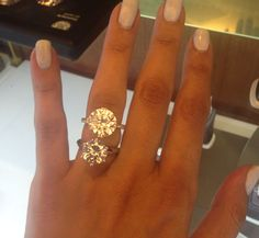 5 carat engagement ring on top and a 4 carat engagement ring underneath it. Love them!