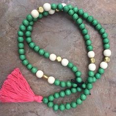 BEADED NECKLACE GREEN WITH FUCHSIA TASSEL - Only Southern Made - 1