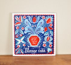 Vintage Norwegian Folk Art Tile Mange Takk by kiteless on Etsy, $12.00