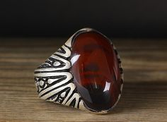 925 K Sterling Silver Man Ring Red Agate 11 US Size B20-65044 #istanbul #Cluster
