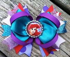 ARIEL Hair Bow Boutique Style Little Mermaid by PolkaDotzBowtique