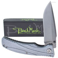 BenchMark BMK054 Grey Wind Stonewashed Linerlock Knife | MooseCreekGear.com | Outdoor Gear — Worldwide Delivery! | Pocket Knives - Fixed Blade Knives - Folding Knives - Survival Gear - Tactical Gear