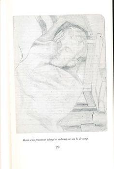 """Rysunek śpiącego jeńca w obozie w Griazowcu. """"Souvenirs de Starobielsk"""" (""""Wspomnienia starobielskie""""), Noir sur Blanc 1987."""