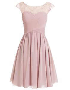 Sexy A-line Scoop Chiffon Cap Sleeves Pink Short Prom/Homecoming Dress With Beading