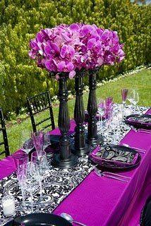 Wedding, Reception, White, Purple, Centerpiece, Black