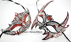 New Magical Couple Mask Laser Cut Venetian Halloween Masquerade Mask Costume Extravagant Inspire Design Lover Mask w RED D by QJ *** Check this awesome product by going to the link at the image. (Note:Amazon affiliate link)