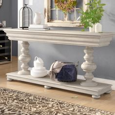 Store your extra dinnerware, flatware, and table linens in a buffet table or sideboard. Shop our great selection of stylish buffet tables and sideboards. Home Decor Furniture, Cool Furniture, Diy Home Decor, Dining Room Buffet Table, Entryway Tables, Buffet Tables, Console Tables, Foyer, Solid Wood Sideboard
