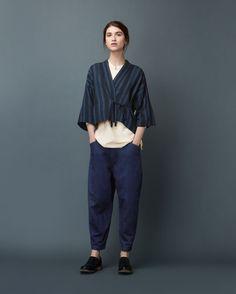 Womens Wool Cotton Blue Levantine Stripe Kyoto Top | TOAST