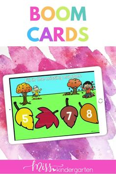 Students practice counting and filling in missing numbers in these digital kindergarten math centers. Kindergarten Math Activities, Kindergarten Reading, Number Sense, Math Centers, Student, Teaching, Digital, Cards, Fun
