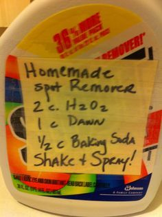 DIY spot remover  2 C peroxide 3%  1 C dawn  1/2 C baking soda  Shake and Spray    -want to try- not much feedback on weather it works.