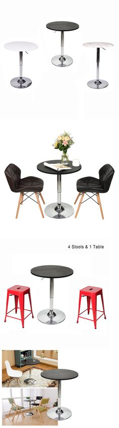 Home Pubs And Bars 115713: Modern Round Bar Table Adjustable Stool Wood Top  Chrome Metal