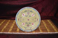 """Jingdezhen Zhongguo Yellow Famille Rose -09- Hand Painted Plate 10"""""""
