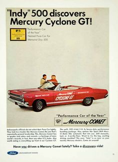 """This is an original 1966 color print ad for the Ford Mercury Comet Cyclone GT """"Performance Car of the Year"""" named Pace Car for the Memorial Day 500. CONDITION This 47+ year old Item is rated Near Mint"""