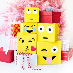 """Santa was feeling VERY emotional this year... DIY emoji gift wrap on the blog!!!! www.studiodiy.com"""