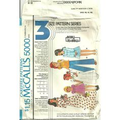 McCalls 5000 Sewing Pattern Girls Dress or Top 5 Styles 1976 Size 7 8 10 Used