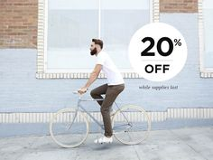 Starting today you can ride off on your favorite Linus bike for 20% off. This offer is valid on select models and only while supplies last so head to http://www.linusbike.com/collections/clearance?utm_content=bufferaf204&utm_medium=social&utm_source=pinterest.com&utm_campaign=buffer to check out them out!