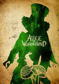 Tim Burton Alice in Wonderland Minimalist Poster von moonposter