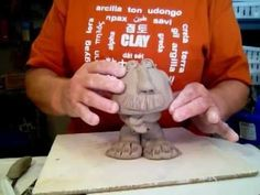Kids pinch pot Clay man Bobble head project - YouTube