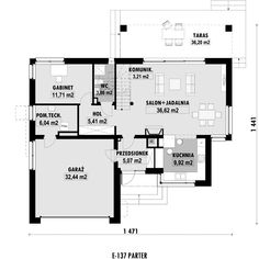 DOM.PL™ - Projekt domu ED E-137 CE - DOM ED1-37 - gotowy koszt budowy Floor Plans, Diagram, Dom, Home, Blue Prints, Mauritius, Fonts, Floor Plan Drawing, House Floor Plans