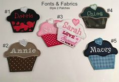 Personalized Single Name Patch (Style 2) - IRON ON Embroidered Patch, Cupcake Heart Patch, Kids Patches, Made to Order, Fabric Patch