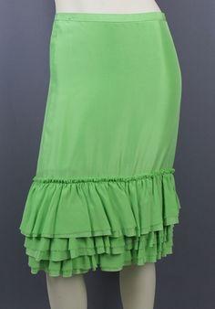 Banana Republic Lime Green Silk Ruffle Hem Flounce Skirt Size 0 NEW #BananaRepublic #StraightPencil