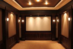 Interior, Small Home Theater Room Ideas Big Screen On The Beige Wall Long Table Bar