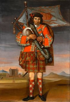 Painting of the Laird of Grant's piper, William Cumming, who is depicted with a uniform of livery, tartan, the bratach or heraldic banner and with the chieftain's head house of Castle Grant in the background, oil on canvas, by Richard Waitt, 1714