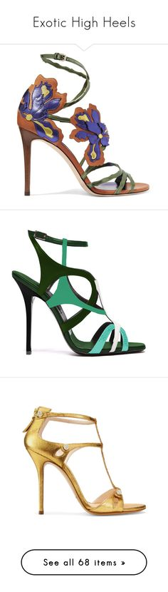 """""""Exotic High Heels"""" by aliceridler ❤ liked on Polyvore featuring shoes, sandals, heels, jimmy choo, strappy high heel sandals, high heel shoes, strap sandals, strappy sandals, metallic sandals and green"""