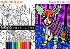 60% Off Today- Chihuahua coloring, coloring book, adult coloring book, coloring pages, adult coloring pages, for adults, printable coloring